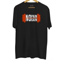 Koszulka z nadrukiem No Pain No Gain - sztangla