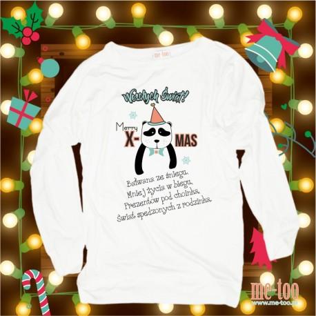 Bluza damska Świąteczne życzenia - panda