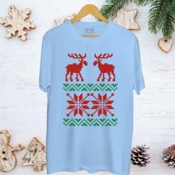 Męska koszulka z nadrukiem Snowy reindeers