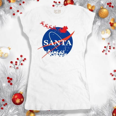 Świąteczna koszulka damska z nadrukiem Santa