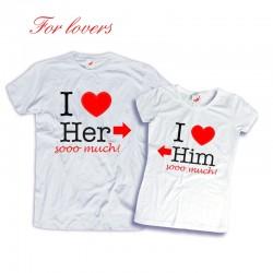 Komplet koszulek dla zakochanych: I love Her/Him sooo much!