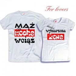 Komplet koszulek dla zakochanych: Mąż co kocha wciąż / Moja wymarzona żona