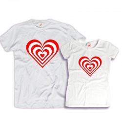 Komplet koszulek dla zakochanych: Wibrujące serca
