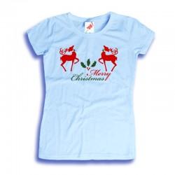 Damska koszulka z nadrukiem Merry Christmas - renifery
