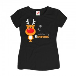 Damska koszulka z nadrukiem Świąteczny reniferek
