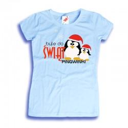 Damska koszulka z nadrukiem Byle do Świąt Pingwinki