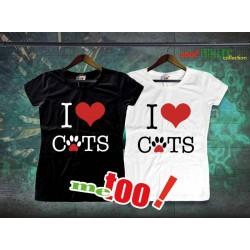 Koszulka Damska I love cats