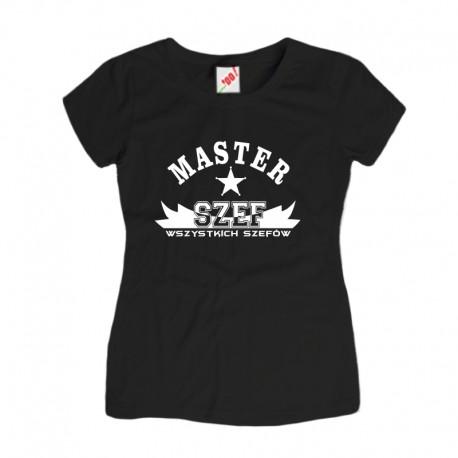 Koszulka damska z nadrukiem Master Szef Wszystkich Szefów