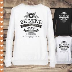 Ciepła klasyczna bluza damska Be Mine - Happy Valentine's Day