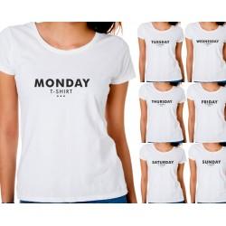 Komplet 7-miu koszulek damskich na każdy dzień tygodnia