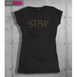 Damska koszulka ze złotym nadrukiem Star