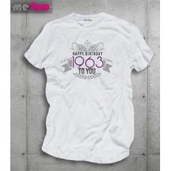 Męska koszulka z nadrukiem Happy Birthday - podaj rok urodzenia
