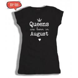 Koszulka damska z nadrukiem Queens are born in ... /miesiąc urodzenia