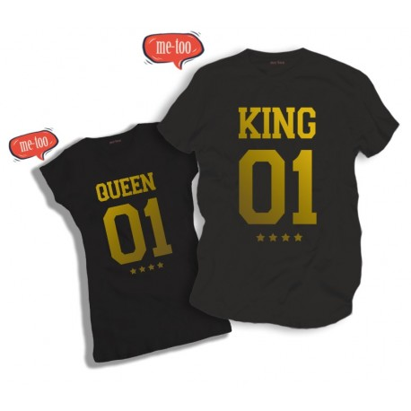 Komplet koszulek Queen & King - model nr 2 / złoty