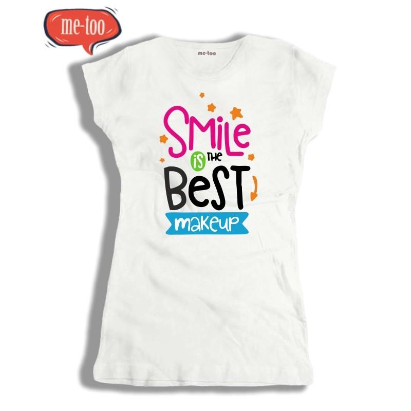 367b7466238a92 Koszulka damska z nadrukiem Smile is the best make up - me-too.pl