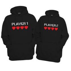 Komplet bluz z kapturem dla pary Player 1 Player 2