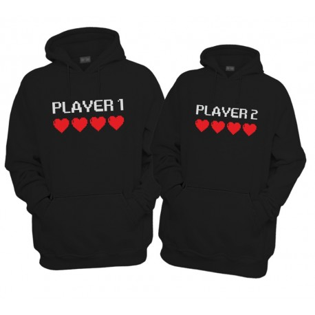 Komplet bluz z kapturem dla pary Gamer 1 Gamer 2
