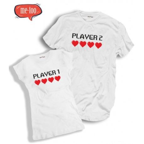Komplet t-shirtów dla pary Player 1 Player 2
